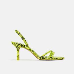NWOT Zara Neon Yellow/Green Snakeskin Sandal Heels